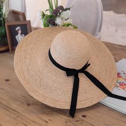 Womens Black Bowknot Band Kentucky Derby Large Brim Raffia Straw Floppy Sun  Summer Beach Hat T237 0ca07f87574b