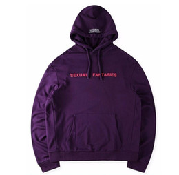 Wholesale Men Fantasies - NEW vetements sexual fantasies men cotton hoodie pullover US hiphop kanye west Fashion Casual oversized pocket hoodys
