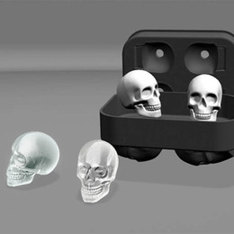 Wholesale Round Ice Cube Trays - 3D Skull Flexible Silicone Ice Cube Mold Tray Makes Four Giant Skulls, Round Ice Cube Maker DHL Ship 0702286