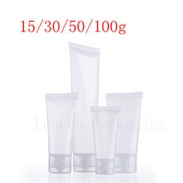 Wholesale Empty Shampoo Bottles - 15g 30g 50g 100g empty transparent soft lotion cosmetic tube container , squeeze plastic bottle, travel shampoo tube packaging