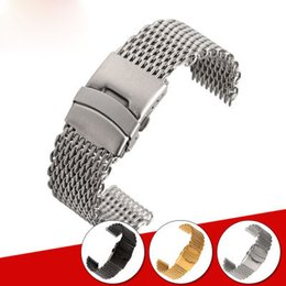 Wholesale Shark Watch Gold - Hot sale Shark stainless steel woven mesh watch band mesh belt 18-24mm black gold silver please leave a message of the color you want