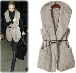 Wholesale Girls Winter Jacket Belt - Fashion Hoodies Vest Coat waistcoat Winter Women Faux Fur Vest Warm Long Coat Outwear sleeveless Jackets Ladies Girl Hooded Vests