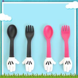Wholesale Soup Sets - Tableware Suit 2 PCS In Set Cartoon Spoon Fork Portable Soup Ladle Kids Children Utensil Creative Dinnerware 4 5rc J R