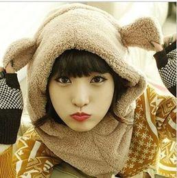 Wholesale Korean Bib - Korean cute plush bear scarf hat one ear windproof rabbit ears sell adorable Bib wholesale