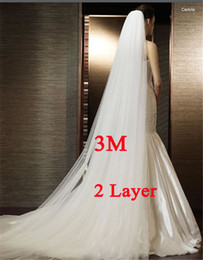 Wholesale Long Veils Two - White Ivory 3M Wedding Veil Two-layer Long Bridal Veil Head Veil with Comb Wedding Accessories Fashion