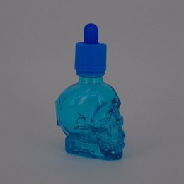 Wholesale China Children Caps - new hot sale 30ml skull glass dropper E-cigarette Smoke oil bottle with child proof cap from China supplier
