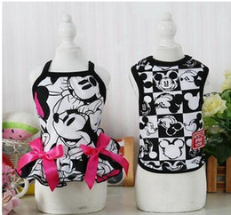 Wholesale Cartoon Tshirt Wholesale - 10pc lot Hot sale Cartoon Pet Dog TShirt Vest Dress Clothes Puppy Cat Apparel Costume Clothing Cachorro For Teddy Chihuahua F168