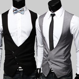 Wholesale Casual Costumes For Men - Wholesale- Mens Formal Vest High Quality 2015 Black Grey Dress Vests For Men Gilet Costume Homme Classic Party Dress Formal Mens Vest
