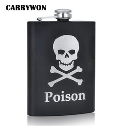 Wholesale Stainless Steel Skull Flask - Wholesale- CARRYWON Personalized Alcohol Flasks 8oz Fashion Skull Design Stainless Steel Mini Hip Flask Camp Outdoor Portable Whiskey Flask