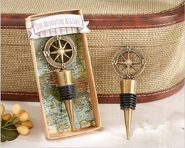Wholesale Favors Bottle Stoppers - Golden Compass Wine Stopper Wedding Favors And Gifts Wine Bottle Opener Bar Tools Souvenirs For Party Easter G110