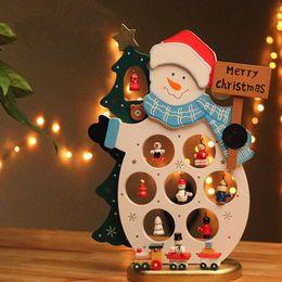 Wholesale Lovely Christmas Wood Snowman Santa Claus Table Decoration Lovely Mini Xmas Home Deco 1pcs