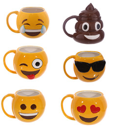 Wholesale Cup Smiling - Lovely Smiling Face Emoji Mug Porcelain Poop Shit Cup Cartoon Amused And Sad Cool Couple Mugs Coffee Cups IC520