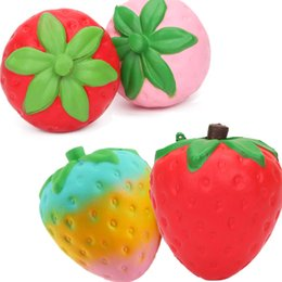 Wholesale Ems Toys Kids - 50pcs EMS Red Pink 11cm Squishy Strawberry Keychain Decompression Toys Cell Phone Charms Pendant Strap Artificial Slow Rising Toy in stock