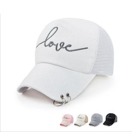 Wholesale Design Gold Letter Ring - Wholesale- Adult Brand Baseball Cap Women Iron Ring Design LOVE Letter Snapback Summer Mesh Cool Net Cap