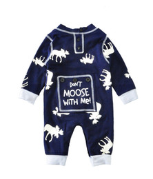 Wholesale Newborn Winter Suit - Newborn rompers with long sleeve deer don't moose with me baby's cotton one-piece suits toddler infant jumpsuits kids clothing top quality