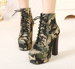 Wholesale Wedge Size 35 - Esdy Camouflage Lace High Heel Women Boots Square Cotton Army Boots Military Combat Tactical Thick Heel Ankle Shoes Size 35-40