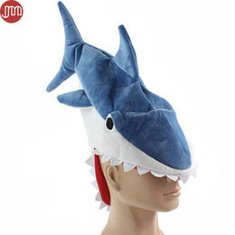"Wholesale Parties For Teenagers - New Shark Toys Cosplay Costume Ocean Fish Hat Party Funny Cap for Adults Teenagers Christmas Gift Perimeter 24"" Blue Novelty Toy"