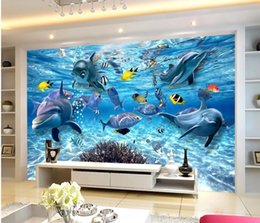 Wholesale Underwater Fish Photos - Custom photo wallpaper 3D stereo underwater world of marine fish living children's room TV background 3d mural wall paper
