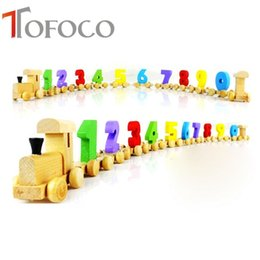 Wholesale Wholesale Wooden Trains For Children - Wholesale- TOFOCO Removable Wooden Number Train Traffic Vehicle Learning Educational Kids Toys For Children Gifts Montessori