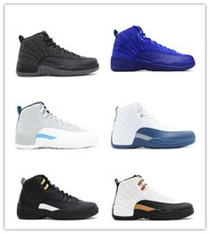 Wholesale Premium French - 2017 New Retro 12 ovo Premium Deep Royal Blue Suede Basketball Shoes Wolf Grey flu game taxi playoffs french blue gym red Sneakers