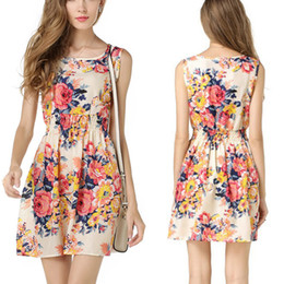 Wholesale pink sundress women - Hot Selling Simple Summer Women Floral Dress Sexy Sleeveless Chiffon A-line Sundress Beach Vest Tank Mini Dress 25 colors