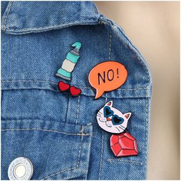 Wholesale Diy Clothes Accessories Metal - Wholesale- 5Pcs DIY Cute Lapel Pins Set For Women Fashion Clothing Accessories Colorful Enameled Metal Cat Glasses Brooches