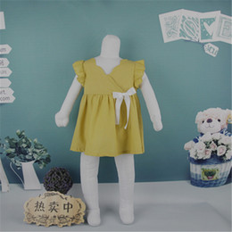 Wholesale Dress Knot Girl - Dresses For Girls Wave Boat Neck Petal Sleeve Side Zipper Waist Bow-knot Yellow Baby Cotton Dress Summer Clothes Lovely Princess Style