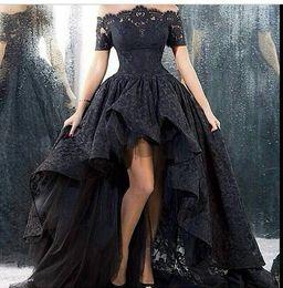 Wholesale Short Prom Embroidered Dresses - high low dresses long black evening dress Bateau party dresses long prom dress Sweep lace Short sleeve dress