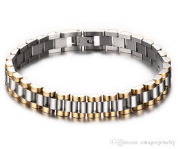 Wholesale Gold Plated Ladies Watches - Watch Band Style 10mm Width 316L Stainless Steel Inermittent Gold Plated Wristband Link Bracelet,Slim Lady Style,2 Choices