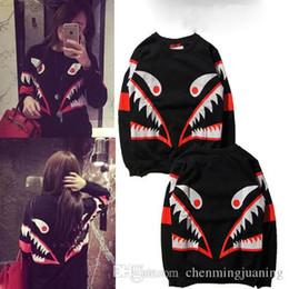 Wholesale Fashion Teeth - 2017 new European fashion street fashion brand MOS small monster shark teeth and cashmere sweater female stamp