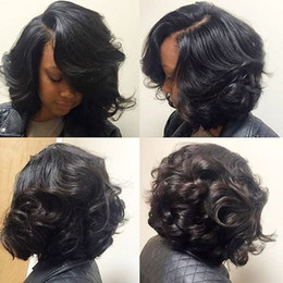 Wholesale Curly Virgin Malaysian Hair Styles - wavy curly Bob Human Hair Wigs side Bangs For Black Women 180%density Virgin hair Full natural Front lace Wig bob style
