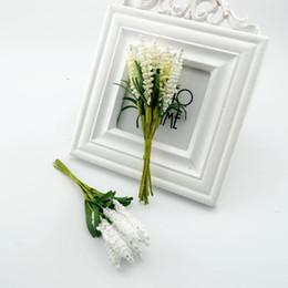 2019 coronas de vid al por mayor Al por mayor-10pcsDIY materiales de la corona flores artificiales flores artificiales lavanda PE novia boda flor muñeca ramillete