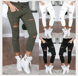 Wholesale One Size Women S Leggings - New Korean Fashion Skinny Ripped Pants Women High Waist Knee Hole Nine Points Leggings Ripped Pants Trousers Plus Size 4XL