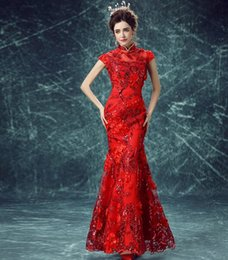 Wholesale Silk Lace Cheongsam - New Arrival Hot Sale Fashion Elegant Luxury Princess Cheongsam Angel Red Silk Flowers Sequins Slim Fishtail Dinner Bridal Wedding Dress