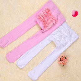 Wholesale Infant Leggings Toddler Tights - 2017 Baby Girls Tights New Autumn Cute PP pants Toddler Clothing Beetle Pure Color Lace PP Pants Infant Leggings White Pink A6342