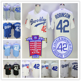 Wholesale Gray Black Jersey - Los Angeles Brooklyn Dodgers #42 Jackie Robinson Black Throwback 1955 baby blue gray vintage white Collection Stitched L.A. Baseball Jerseys