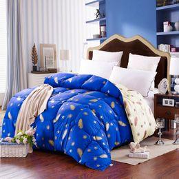 Wholesale Silk Quilt Comforter - Wholesale- warm thicker Duck Down winter Comforter quilted Duvet 100% Cotton Blankets Twin Queen King size Quilt Plaid 220x240