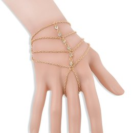 Wholesale Multi Layer Bracelet Crystals - 2017 Fashion Celebrity Tassel Bangle Multi-layer Crystal Drill Bracelets For Women Jewelry Slave Finger Hand Chain Harness Gold