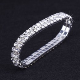 Wholesale Silver Box Chain Bracelet - 12 pieces Lot Wedding Bridal Jewelry Elastic Crystal Rhinestone Stretch Silver Gold Bangle Bracelet Wholesale Wedding Accessories for Women