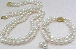 Wholesale Double Strand Pearl Necklace Bracelet - Hot sell double strand 9-10mm Akoya white pearl necklace 18 inch 14k gold clasp free bracelet earring