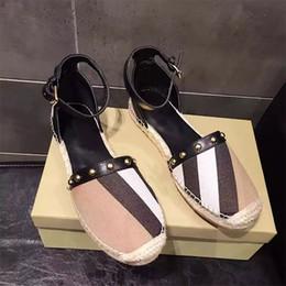Wholesale Canvas Espadrilles Women - Letu145 Fashion Striped Buckle-strap Two-piece Jute Canvas Espadrilles Flats Ballet Flats Shoes Women Genuine Leather Shoes Sz 35-39