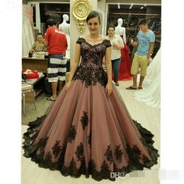 Wholesale Tull Ball - 2016 New Arrival Brown Prom Dresses Cap Sleeve Ball Gowns Tull with Black Applique Bandage Formal Party Gowns Plus SizeEvening Gowns