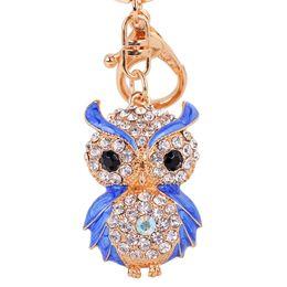 Wholesale Owl Pendant Pink - Bling Bling Crystal Rhinestone Cute Owl Metal Keychain Keyring Car Keychains Purse Charms Handbag Pendant Best Gift