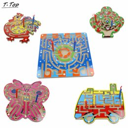 Wholesale Type Cock - Wholesale- Different Color type Bus Cock Magnetic Wooden Animal Maze Educational Game Toy For Kids children Gift