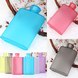 Wholesale Grade Mug - Newest Frosted Wine Cup 400ML Creative Portable Hip Flasks Bottle Food grade AS Plastic Outdoor Travel Mugs 6 Color Free Shipping WX-C37
