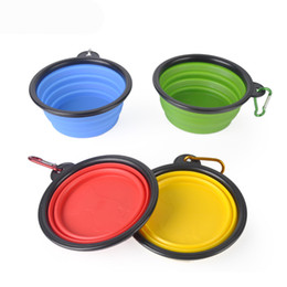 Wholesale Wholesale Collapsible Dog Water Bowl - 2017 Dog Folding Collapsible Feeding Bowl Silicone Water Dish Cat Portable Feeder Puppy Pet Travel Bowls