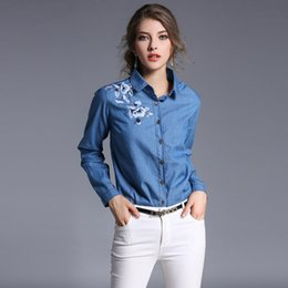 Wholesale Top Neck Patterns Blouse - 2017 Spring New Women Denim Shirt Embroidery Pattern Fashion Cowboy Shirt Clothing Shirt Vintage Female Long Sleeve Jeans Blouse Casual Tops