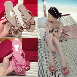 Wholesale Women Jelly Flats Sandals - Fashion Women Sandals Flats Jelly Rivet Shoes Slippers Lady Beach Casual Flip Flops Black and Apricot