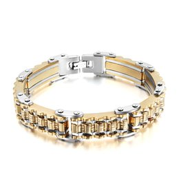 Wholesale Titanium Steel Bicycle Chain - Wholesale-Mprainbow Mens Bracelets Titanium Steel Bicycle Gear Link Bracelet Gold Plated Cuff Bangle Trendy Men Jewelry,Gold Silver,8.7""