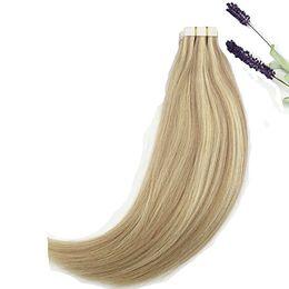 Смешанные блондинки наращивание человеческих волос онлайн-ELIBESS-двойной обращается Лента в наращивание волос #18/613 карамель блондинка смешанный отбеливатель блондинка 2.5 г 40pcshighlight человеческих волос